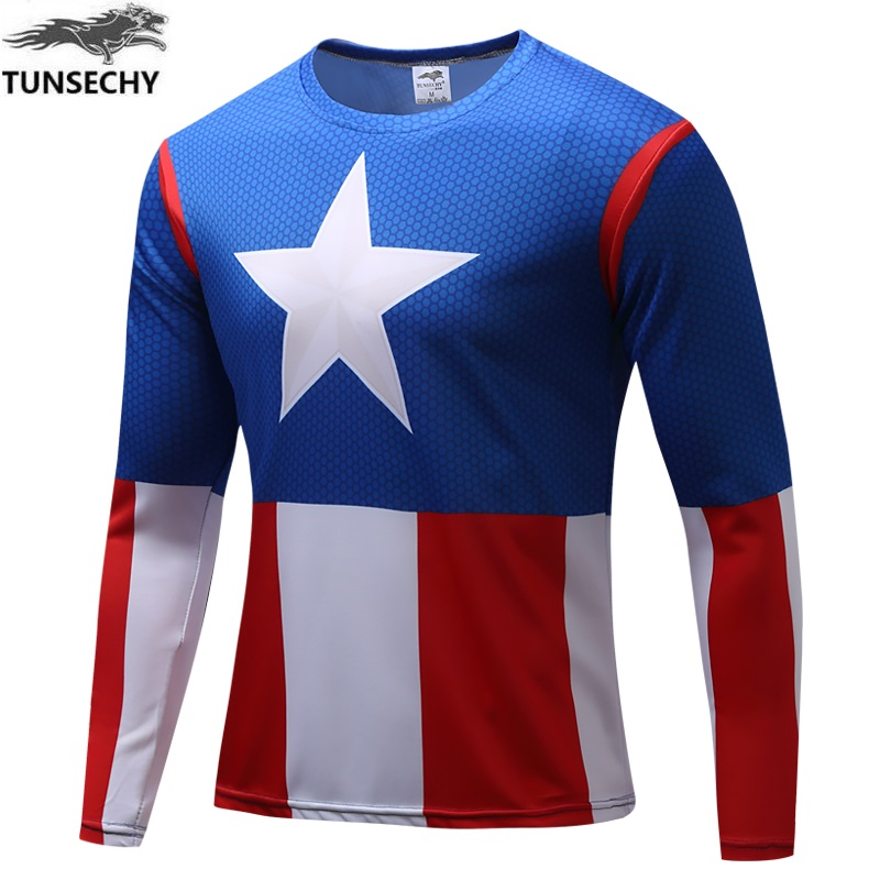 d319220c3 2018 Captain America cycling jerseys t shirt hot  Hulk Iron Man   t shirt  men fitness shirts men t shirts quick dry fitness clot-in Cycling Jerseys  from ...