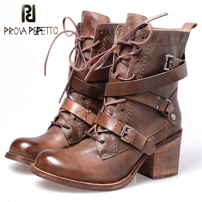 Prova Perfetto Warm Plush in Winter Short Boots Women Front Lace Up Square High Heel Martin Shoes Buckle Belt Motorcycle Boots