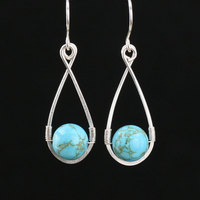 Sterling Silver Turquoise Tear Drop Earrings Handmade Wire Wrapped Gold Plated Ear Cuff Gem Stone Jewelry