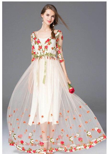 Vestidos largo primavera malla bordado sexy elegante manga tres cuartos 4