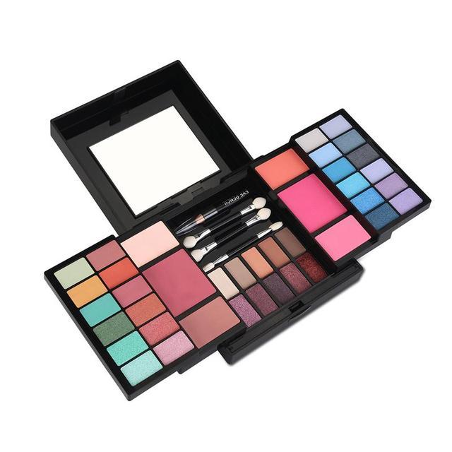 RUIMIO Travel Eyeshadow Makeup Kit All-In-One Makeup Palette Eyeshadow Blush Contour Foundation Powder Eyeliner Pen Palette