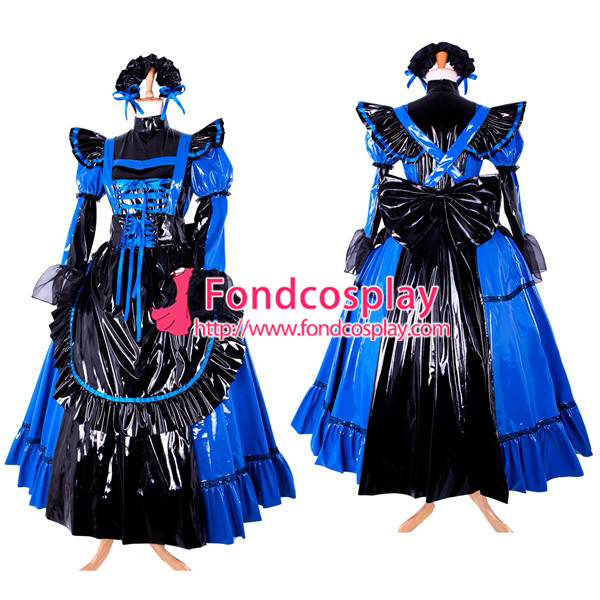 sissy maid kleid abschlie bare pvc uniform cosplay kost m nach ma in sissy maid kleid. Black Bedroom Furniture Sets. Home Design Ideas
