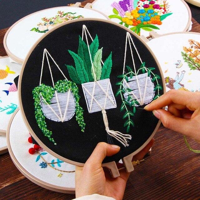 Ruban Fleurs Broderie Ensemble avec Cadre pour Débutant Couture Kits Point De Croix Série Arts Artisanat Couture Décor 2
