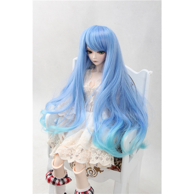 Bjd 1/3 Long Wig Blue For 1/6 1/3 24