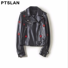 Ptslan 2017 Women'S Genuine Leather Jacket Motorcycle Lambskin Sheepskin Moto Jackets Basic Natural Female
