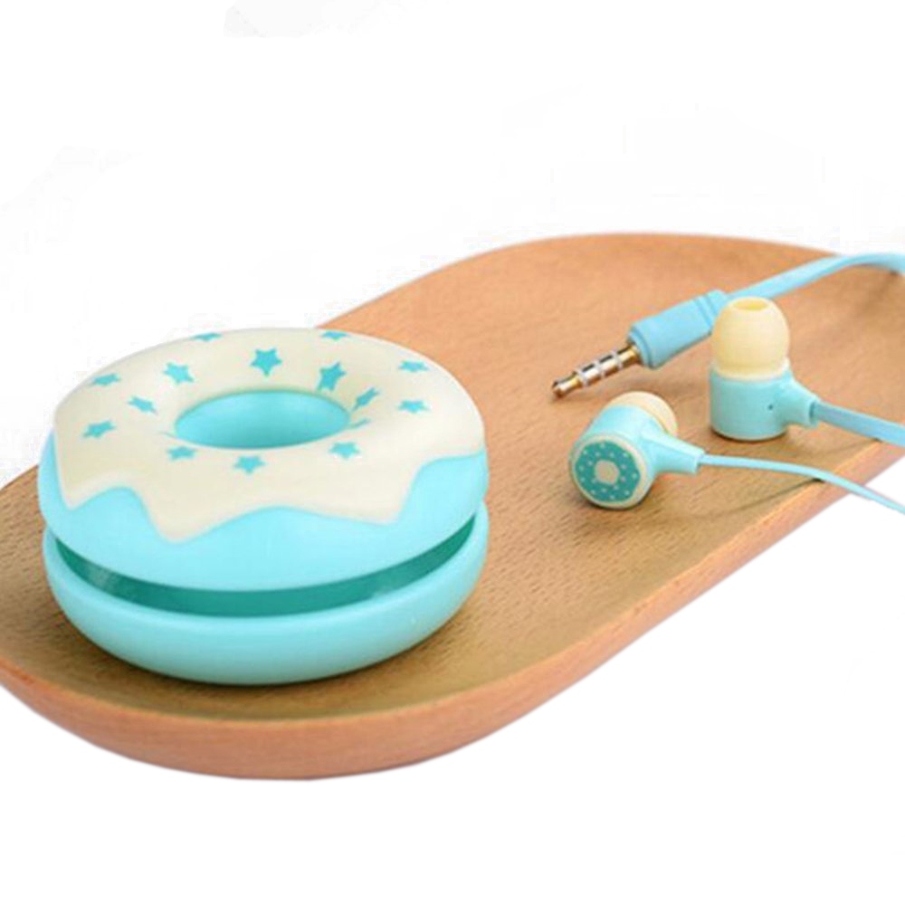 Cute Candy Color Earphones with Donut case Microphone headphone for girls Kids 3 5mm Earbuds for