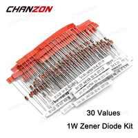 1 W dioda zenera zestaw (3 V 3.3 V 3.6 V 5.1 V 5.6 V 7.5 V 10 V 12 V 13 V 15 V 16 V 18 V 20 V 22 V 24 V 30 V 33 V 47 V) asortyment zestaw