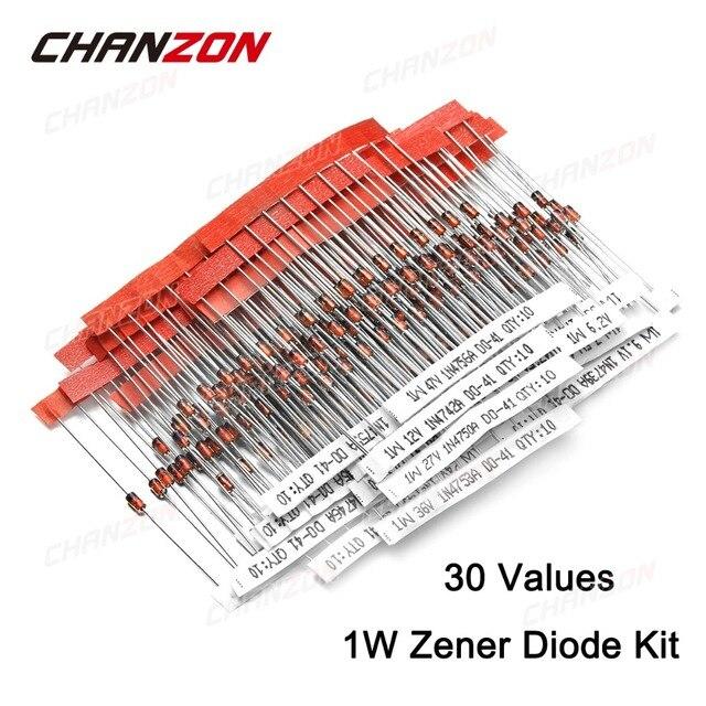 1W Zener Diode Assorted Kit (3V 3.3V 3.6V 5.1V 5.6V 7.5V 10V 12V 13V 15V 16V 18V 20V 22V 24V 30V 33V 47V) Assortment Set