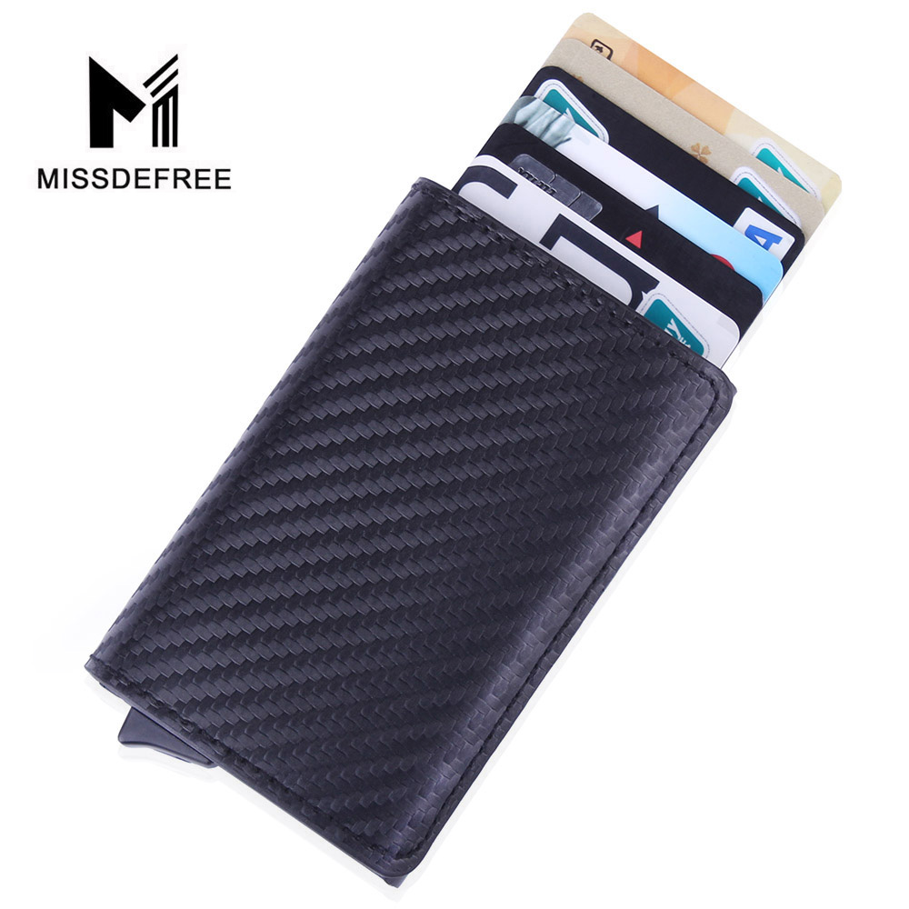 Carbon Fiber PU Leather Mini Wallet With ID Credit Card Holder RFID Blocking Slim Men Wallet Automatic Pop Up Purse