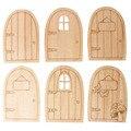 10pcs/Lot Wood Door Blank Plaque Decoupage Crafts DIY Laser Cutting Door Crafts Miniatures Home Decorations
