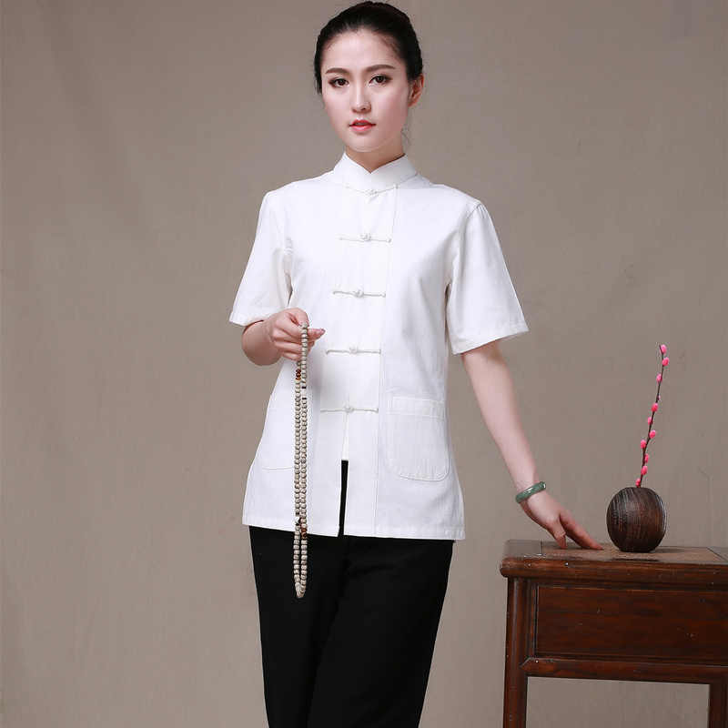 Summer New Women Kung Fu Clothes Wudang Tai Chi Uniform Woman Tang Costume Short Sleeve Chinese Traditional Style Shirt 7colors