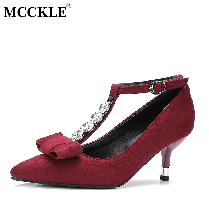 MCCKLE Female Bowtie Crystal Sexy T Strap Buckle Pointed Toe High Heels Women's Crystal With Comfortable Party Plus Size Shoes women slingbacks shoes with pointed toe buckle strap perspex design crystal decoration ladies dress and party shoes high heels