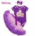 Purple Pettiskirt with Ruffle baby Tutu skirt Cotton Short Sleeve Jumpsuit Baby Costume Clothing For Girls Set Free Shipping