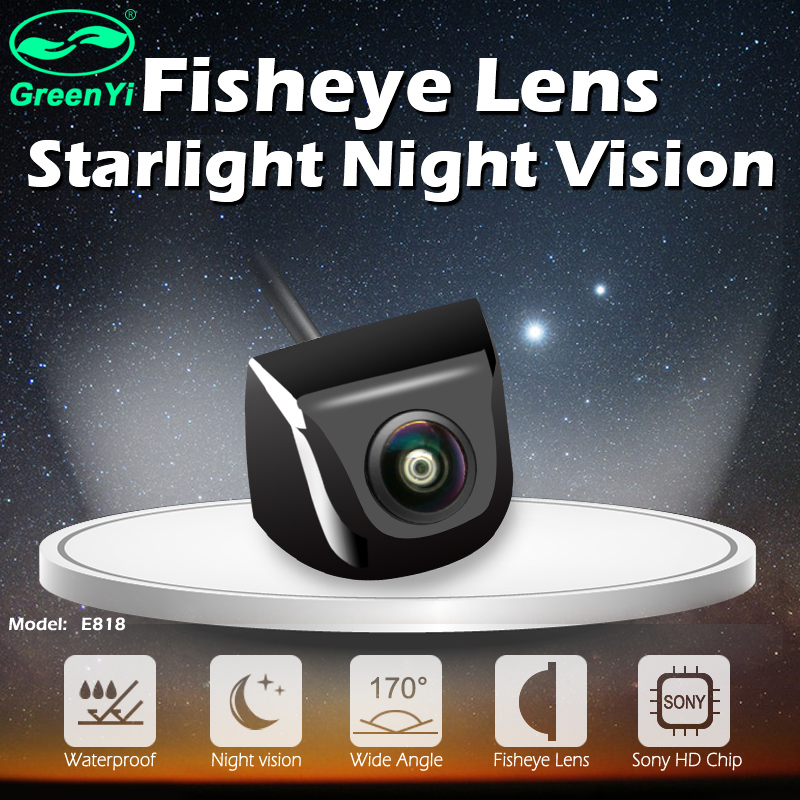 GreenYi 170 Degree Fish Eye Lens Starlight Night Vision Vehicle Rear / Front View Camera low-light level 15m visible Car Camera