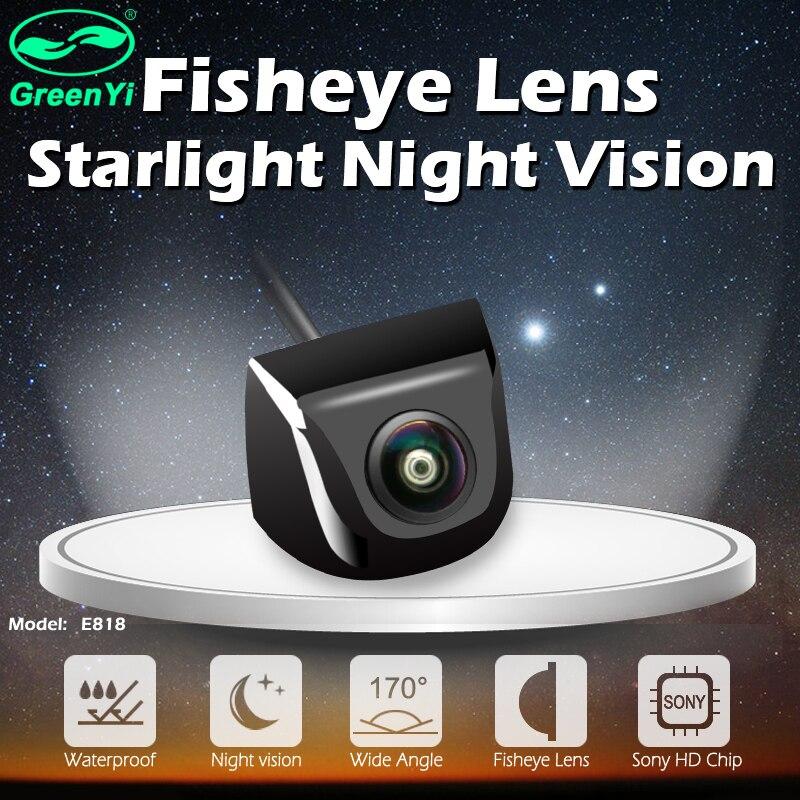 Greenyi 170 graus lente olho de peixe luz das estrelas visão noturna veículo traseira/câmera de visão frontal baixo-nível de luz 15m câmera do carro visível