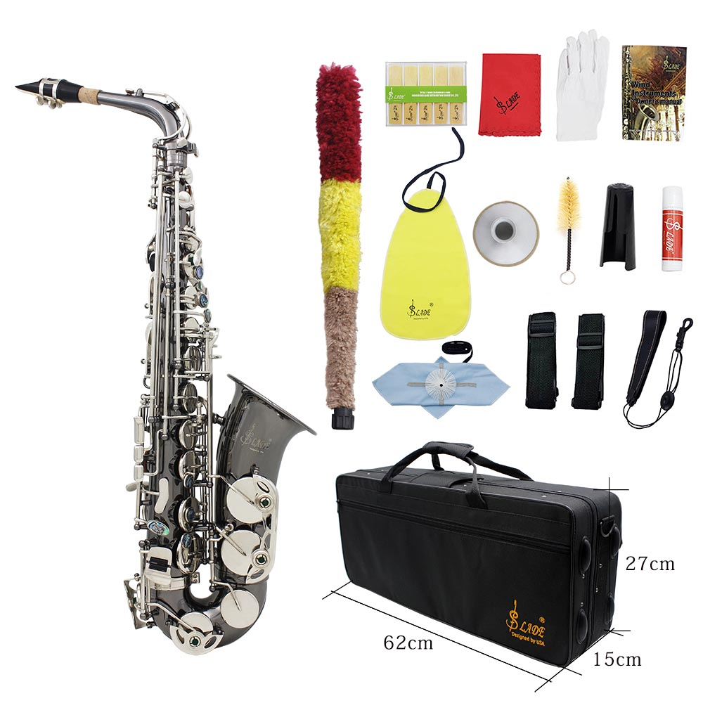 US $225 11 |Professional Brass Bend Eb E flat Alto Saxophone Sax Black  Nickel Plating Abalone Shell Keys-in Saxophone from Sports & Entertainment  on