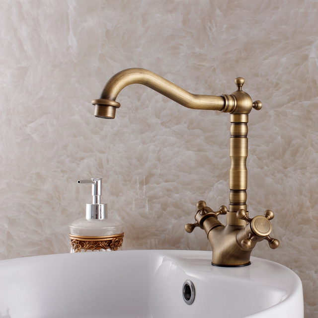 Classic Vintage Antique Bathroom Faucet Ktichen Faucet Basin Mixer Two  Handle Sink Mixer Hot And Cold