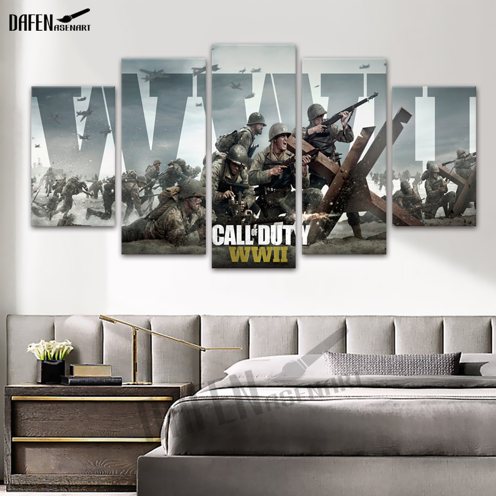 Canvas Art Posters Prints Painting Room Decor Call of Duty 5 Panel Wall Hanging for Bedroom Living Dining Room Decorative Framed