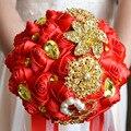 Горячая Красотка Золотые Броши Свадебный Букет Шелковые Розы Свадебный Букет Стразами Красочные Невеста 'ы Букет с жемчугом