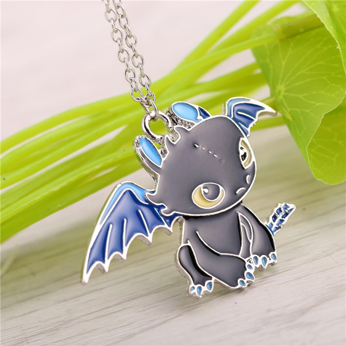 Dragon Metal Black With Blue Necklace