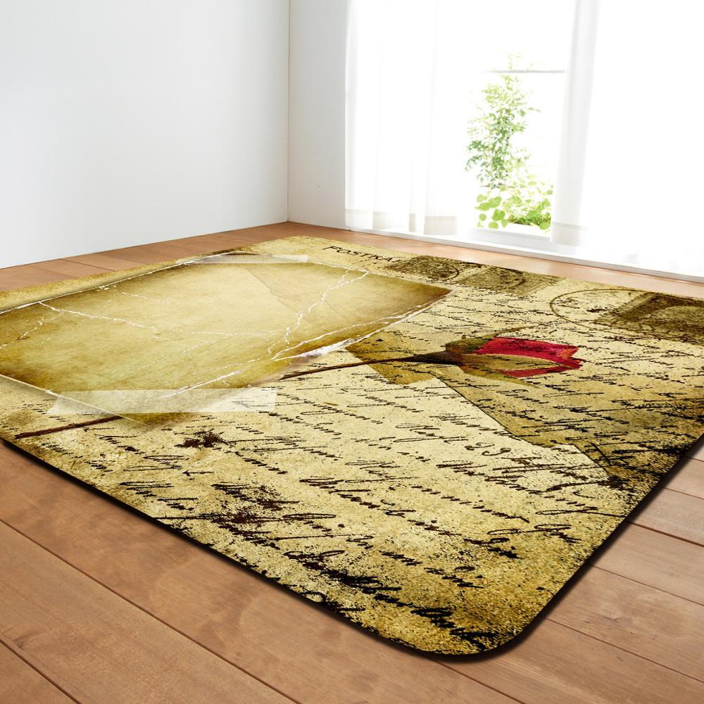 Style rétro salon grande surface décor Rose impression tapis chambre douce maison tapis Restaurant porte tapis café Table tapis tapis
