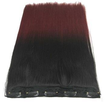 Soowee Long Straight Black to Gray Natural Color Women Ombre Hair High Tempreture Synthetic Hairpiece Clip in Hair Extensions 6