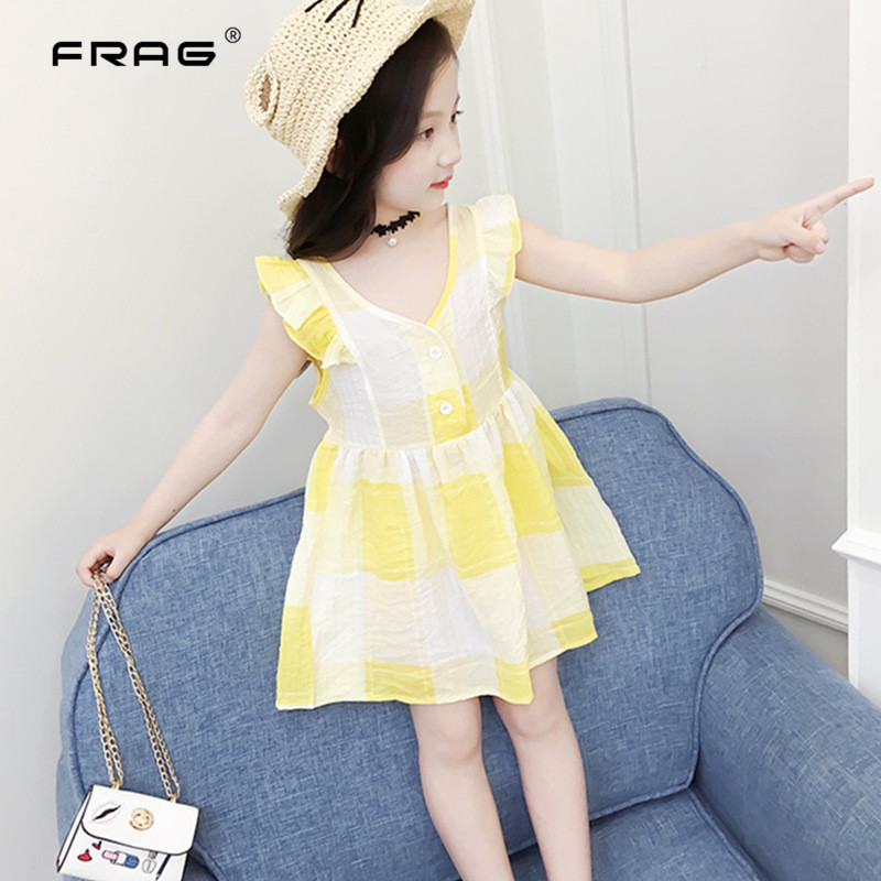 New Baby Girls Summer Dress 2018 Fashion Sleeveless Plaid Baby Dress Kids Childrens Birthday Party Dresses For Baby Girls