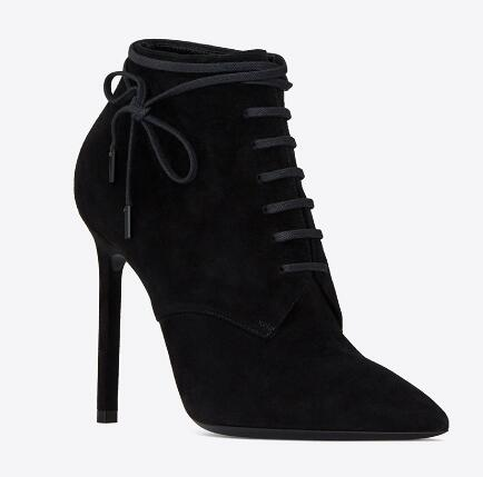 Black solid pointed toe lace-up high heel ankle boots for woman Ladies thin high heel short boots Spring and autumn high heels women suede pointed toe high heel ankle boots spring and autumn super high thin heel short boots black red rose red short boots