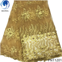 BEAUTIFICAL Gold lace fabric 5yards french 2018 gold embroidered with beads new arrival for dress PN112