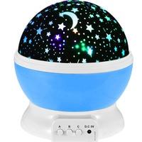 Romantic Rotate Night Light Lighting Sky Star Moon Master Projector Spin Children Baby Sleep USB Atmosphere