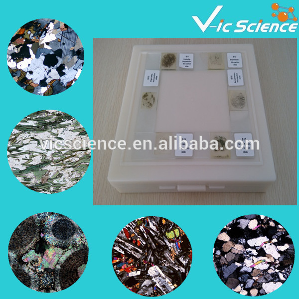 100Pcs Mineral prepared slides geography mineral grinding stone 30 micron thickness prepared slides 24 piece rock thin sections