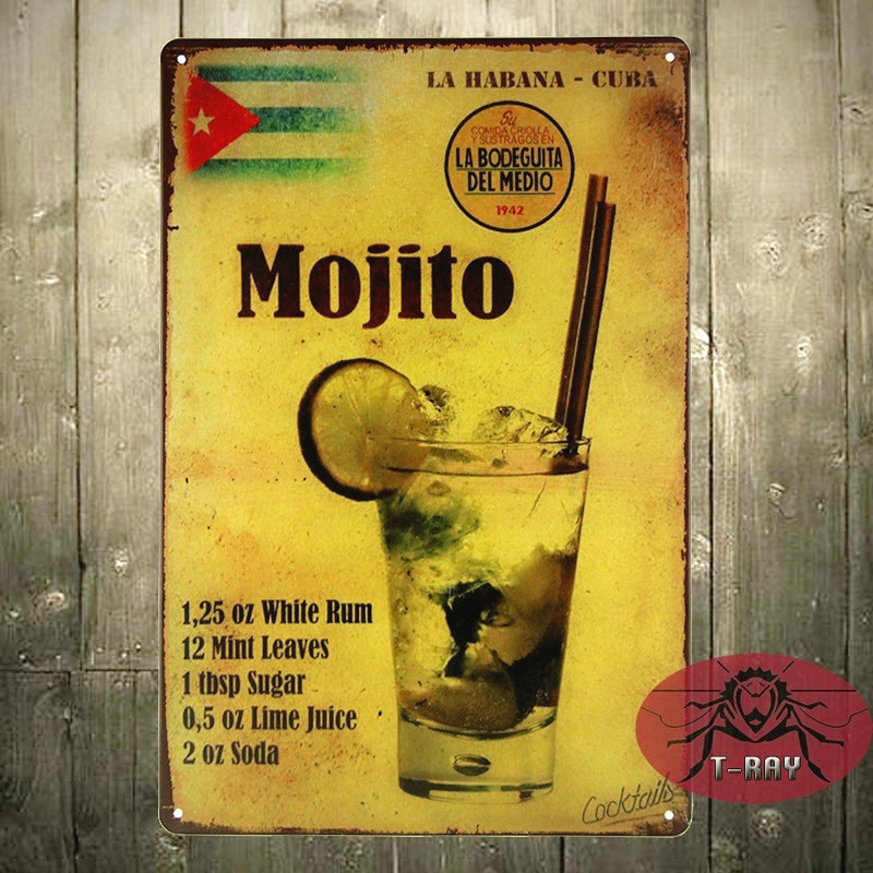 Mojito cocktail Metal Poster Retro Pub Home Craft Decor Vintage Wall art Sign 20*30 CM Mix Items A-52