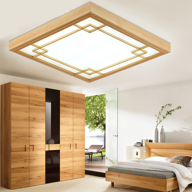 led ceiling light living room l shaped couch design japanese tatami lamp bedroom ultra thin lights home lighting modern decora wood luminaire
