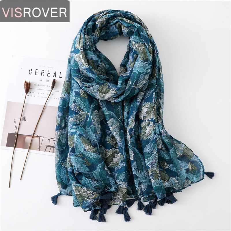 VISROVER Long Scarves 2019 Fashion Scarves Viscose Shaw Hijab Scarf Tropical Print Beach Dress Top Summer Scarf for Women Ladies