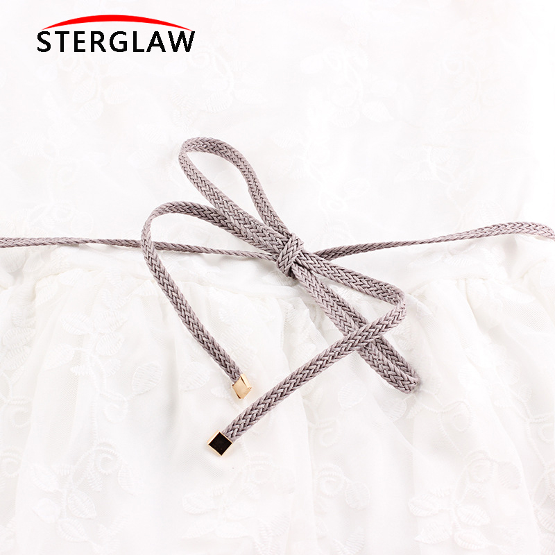 High Quality Pu Weave Belt Womens Belts New Style Candy Colors Hemp Rope Braid Belt For Dress Female Riemen Voor Vrouwen N004 To Produce An Effect Toward Clear Vision Apparel Accessories