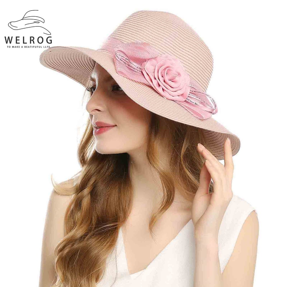 WELROG Womens Cotton Straw Fedora Summer 2019 Hats Fascinator Large Brim Party Church Hats For Women Bowknot Chapeau Femme