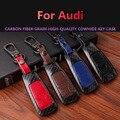 Чехол для ключей из углеродного волокна из натуральной кожи для Audi  чехол для ключей A3 Q3 Q5 Sline A3 A5 A6 C5 A4 B6 B7 B8 TT 80 S6 C6  сумка для ключей