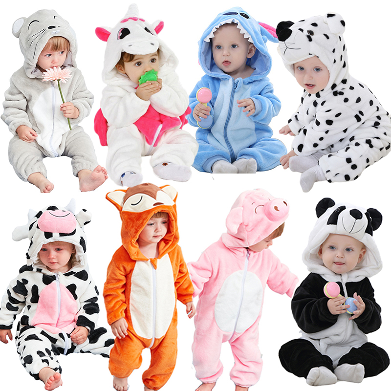 Baby Girls Boys   Rompers   Flannel Cartoon Fox Stitch Winter Animal New Born Baby Jumpsuit Infant Baby Girl Clothes ropa de bebes