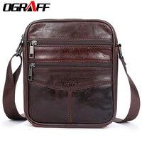 OGRAFF Men Bag Small Shoulder Bags Handbags Genuine Leather Bags Men Messenger Cross Body Office Bags