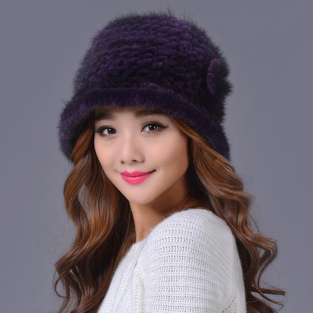2015 Coreano Novo Inverno Gorro de Pele De Vison Chapéu Das Mulheres Casuais quente Grosso Cores Misturadas Malha Chapéus De Pele De Vison Para Senhoras 19559