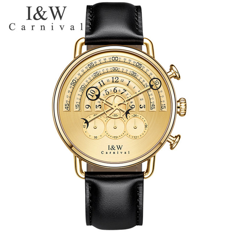 Carnival I&W Fashion Mens Watches Top Brand Luxury Leather Strap Quartz Watch Men Gold Male Clock Wristwatches Relojes Hombre mens watches oulm top brand luxury military quartz watch unique 3 small dials leather strap male wristwatch relojes hombre