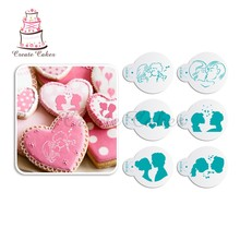 цены Lovers Kiss Pattern Cookies Stencil Coffee Stencil Wedding Plastic Stencil Cupcake Decorating Stencil Cake Tool