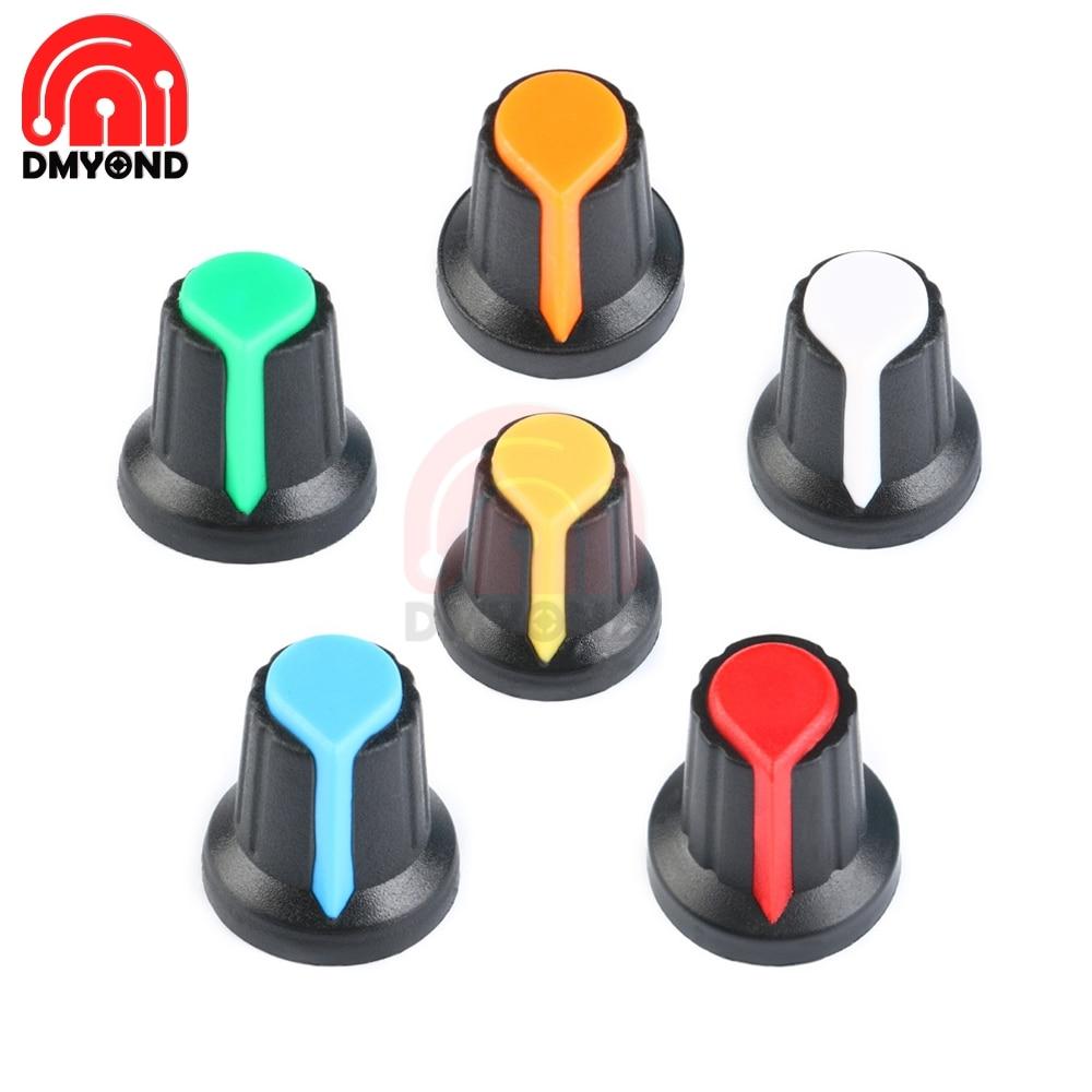 5PCS/lot WH148 Potentiometer Knob Cap AG2 Plastic Knob For Diameter 6mm Plum Handle Yellow Orange Blue White Red Green A-2 Diy