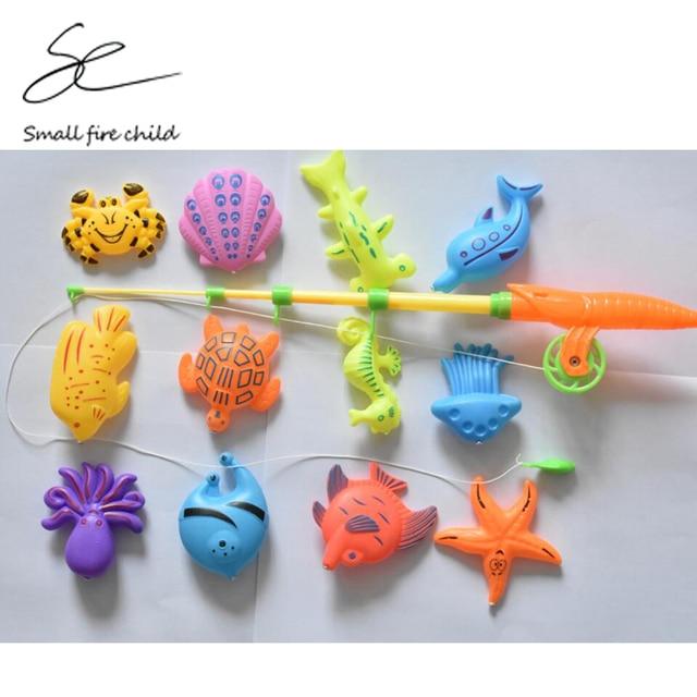 13 pçs/lote Aprendizado & educação magnético brinquedo pesca oceânica vem ao ar livre fun & sports peixe toy presente para o bebê/ garoto com vara de pesca