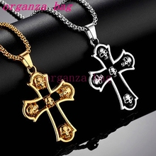 10pcs European and American fashion hip hop Skull Cross Necklaces men ornaments alloy long sweater chain Antique silver/gold