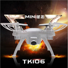TK106 2.4g Headless mode rc mini drone with hd camera 720p with One key to return&360 degrees roll VS CX-10W RC MINI DRONE