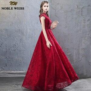 Image 3 - Благородные винтажные платья WEISS с высоким воротом для выпускного вечера 2019, сексуальное кружевное платье с открытой спиной, официальное длинное вечернее платье до пола