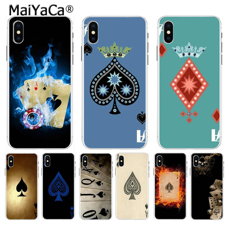 MaiYaCa Spades Poker Spelen Kaarten Ace Classic cover mobiele telefoon voor iPhone 8 7 6 6S Plus X XS max 10 5 5S SE XR Coque Shell