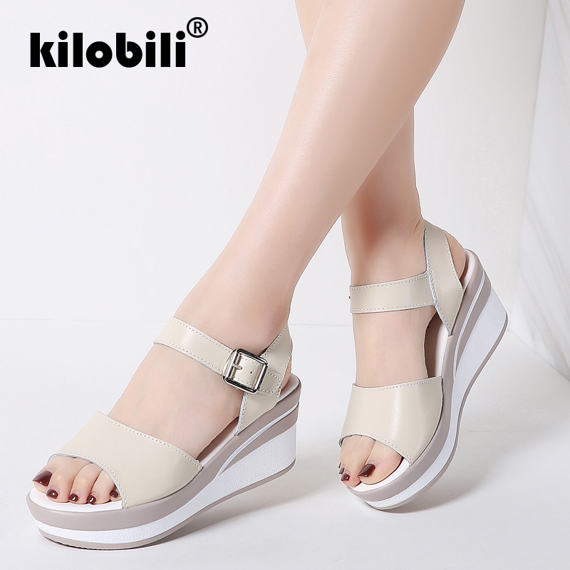 Kilobili 2018 Women Sandals White Flat Sandals Low Wedges