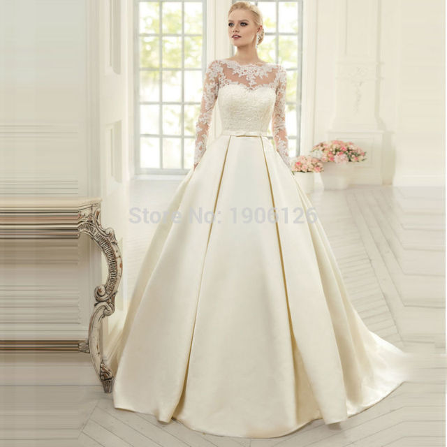 Hot Off White Long Sleeve Wedding Dress Satin Ball Gowns Bride Dresses Lace Corset Back